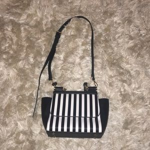 Miztique black and white striped handbag